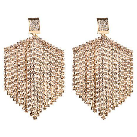 Fashion simple claw chain earrings alloy inlaid rhinestone long tassel geometric earrings NHLN180657's discount tags