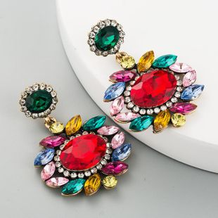 Earrings ladies high-grade alloy glass rhinestone earrings flowers wholesales fashion NHLN180659's discount tags