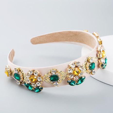 Headband women Baroque fashion personality wild fabric sun flower with rhinestone glass headband NHLN180661's discount tags