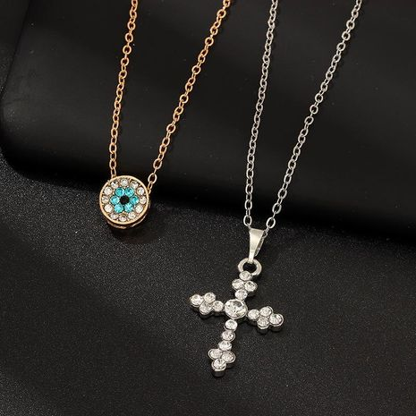 Fashion simple cross necklace retro pop color diamond pendant wholesales NHNZ180807's discount tags