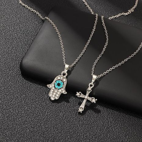 Creative Simple Cross Necklace Retro Eyes Studded with Diamond Pendant wholesales fashion NHNZ180810's discount tags