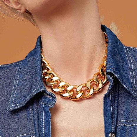 Fashion personality thick chain necklace retro punk aluminum necklace chain men and women hip hop wholesales fashion NHNZ180815's discount tags