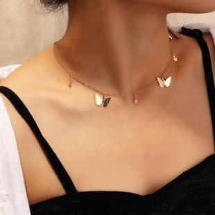 Simple fashion butterfly necklace personality popular five-pointed star clavicle chain women wholesales fashion NHNZ180832's discount tags