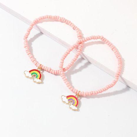 New creative pink rice beads bracelet temperament alloy rainbow pendant bracelet NHNZ180821's discount tags