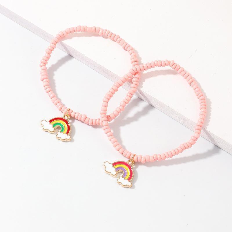 New creative pink rice beads bracelet temperament alloy rainbow pendant bracelet NHNZ180821