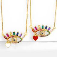 Necklace colored zircon drop oil full of diamonds eyes love pendant NHAS180767