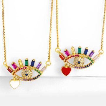 Collar de gota de circón de color aceite lleno de diamantes ojos amor colgante NHAS180767