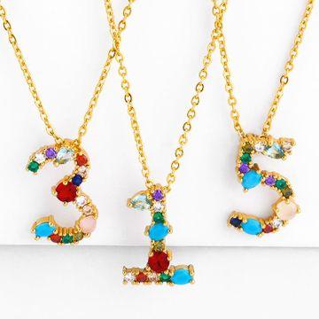 Collar digital con incrustaciones de circón de color 0-9 colgante collar personalidad afortunada NHAS180781