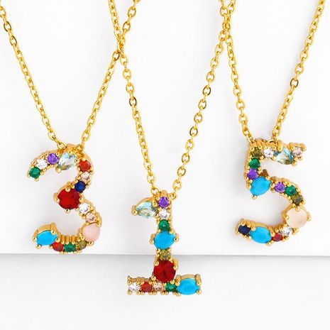 Inlaid color zircon digital necklace 0-9 pendant lucky personality necklace NHAS180781's discount tags