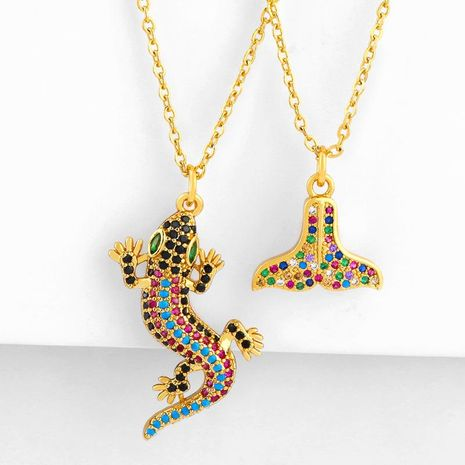 Fishtail Necklace Women's Simple Inlay Diamond Mermaid Pendant Clavicle Chain Sweater Chain NHAS180782's discount tags