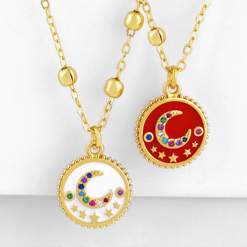 2019 Necklace Female Drop Oil Moon Star Diamond Pendant Sweater Chain wholesales fashion NHAS180786