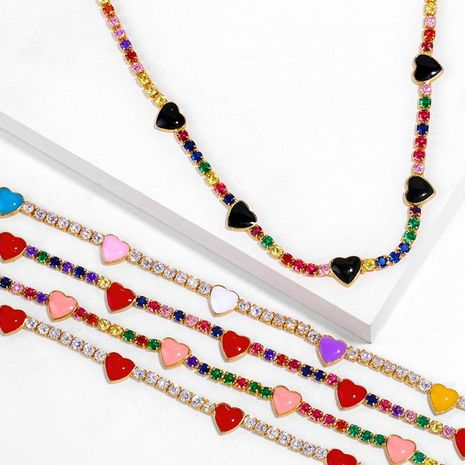 Choker love necklace full diamond clavicle chain necklace NHAS180788's discount tags