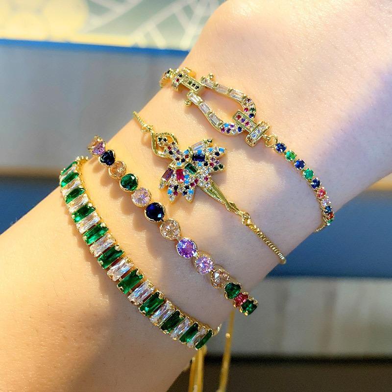 Inlaid colored zircon bracelet copper gold-plated bracelet NHAS180775