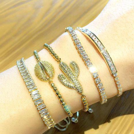 Classic fashion zircon crystal pull bracelet women cactus bracelet wholesales fashion NHAS180776's discount tags