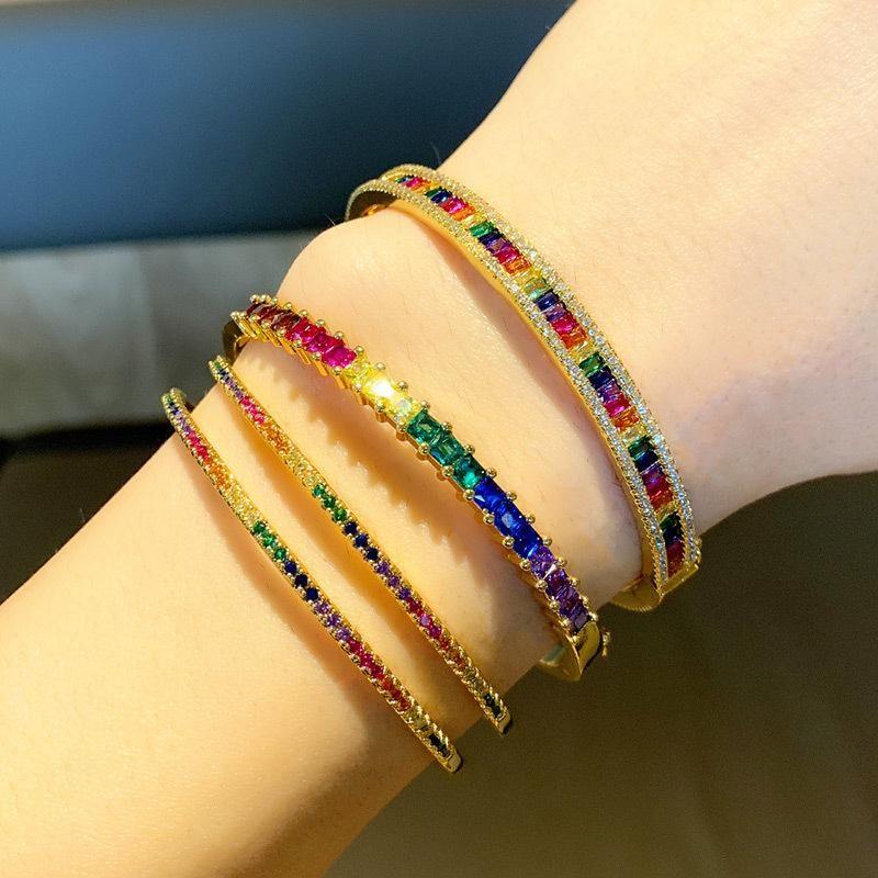 Simple copper gold plated diamond bracelet color zircon hand jewelry women NHAS180778