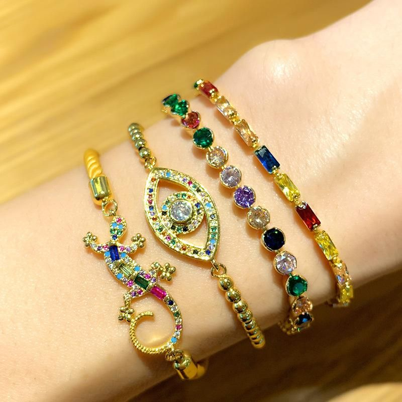 Micro inlay color zircon demon eye bracelet wholesale NHAS180780