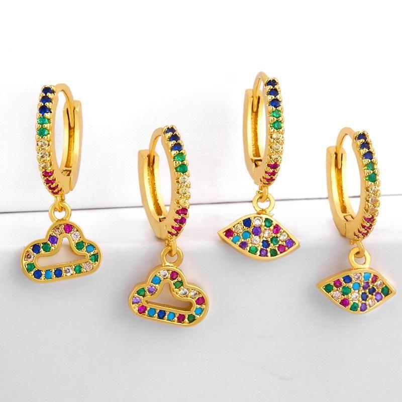 Inlaid color diamond earrings earrings women cloud earrings NHAS180774