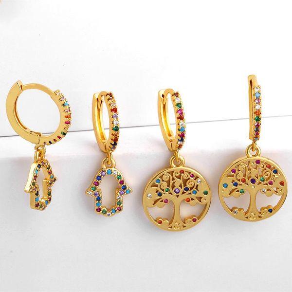 New earrings micro-set color zircon life tree earrings ear buckle women jewelry NHAS180779