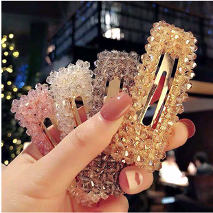 Crystal hair clip side clip wild simple hairpin word clip simple hairpin fashion hairpin hair accessories NHSC181141's discount tags