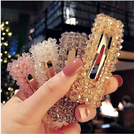 Pinza de pelo de cristal clip lateral salvaje simple horquilla clip de palabra horquilla simple moda horquilla accesorios para el cabello NHSC181141's discount tags
