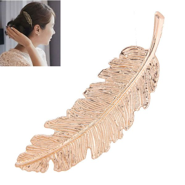 Fashion hair clips metal simple and elegant feather hairpin hair accessories spring clip NHSC181143