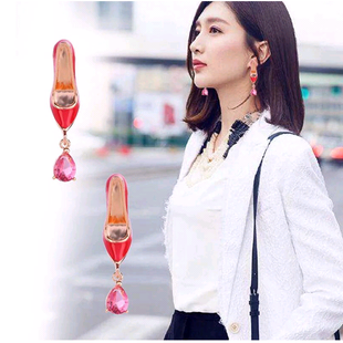 Exquisite Korean fashion sweet OL red high heel personality earrings NHSC181146's discount tags