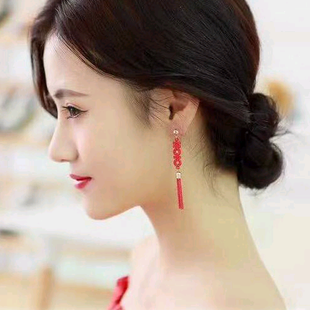 925 silver needle Korean fashion sweet LOVE fringed temperament earrings NHSC181148's discount tags