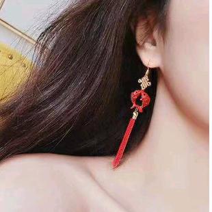 925 silver needle Korean fashion sweet OL Pisces tassel temperament earrings NHSC181149's discount tags