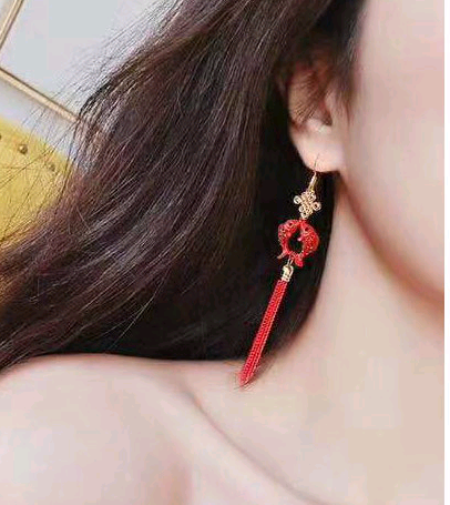 925 silver needle Korean fashion sweet OL Pisces tassel temperament earrings NHSC181149's discount tags