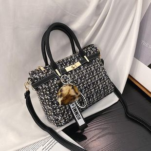 Wholesale women bags wool bag new fashion lattice shoulder slung small square bag NHTC180965's discount tags