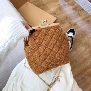 Winter new bag hairy female bag shoulder slung clutch bag small square bag NHTC180919's discount tags