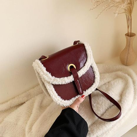 Wholesale women bags new plush bag shoulder slung saddle bag NHTC180948's discount tags