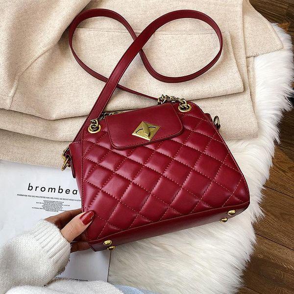 Wholesale women bags new fashion woolen rhombic chain bag shoulder bag crossbody bag NHTC180971