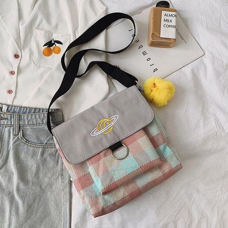 Bag women new fashion student canvas bag plaid shoulder Messenger bag NHTC181016's discount tags
