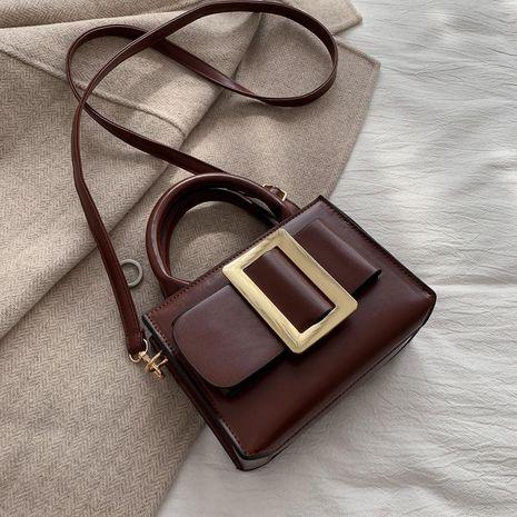 New diagonal shoulder bag solid color belt decoration retro portable small square bag NHXC181055's discount tags