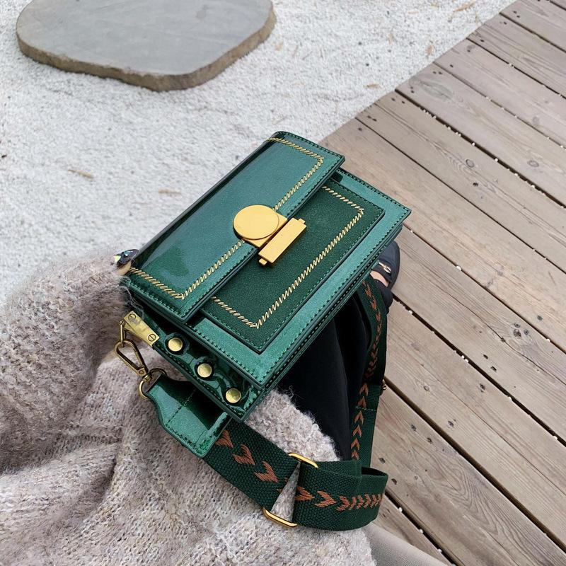 Bright face wide shoulder strap handbags new simple fashion wild shoulder slung square bag NHLD181096