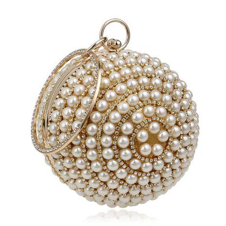 Hot pearl handbag lady fashion banquet bag spherical evening bag NHYM180870's discount tags
