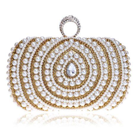 Fashion pearl clutch bag female hot banquet clutch bag dress evening bag NHYM180878's discount tags