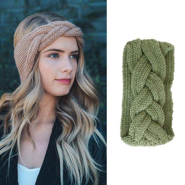 Knitted wool headband twist braids super wide elastic headband hair band wholesale fashion jewelry NHOF181323