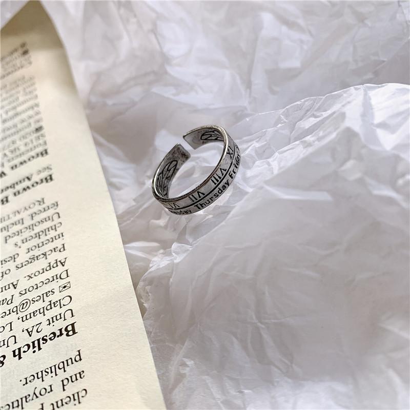 Korean simple retro ring women Roman numeral personality ring tail ring wholesales fashion NHYQ181340