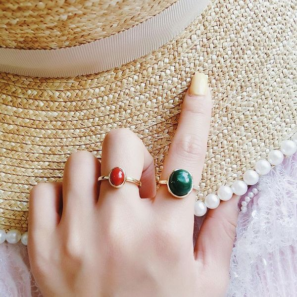 Simple and elegant round gem two-piece ring personality ring NHMS181433