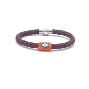 Fashion miyuki rice beads leather rope couple bracelet stainless steel leather hand-woven jewelry NHGW181465's discount tags