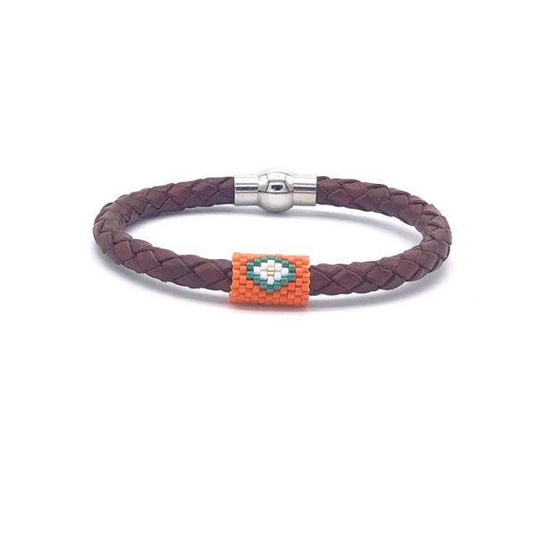 Fashion miyuki rice beads leather rope couple bracelet stainless steel leather hand-woven jewelry NHGW181465