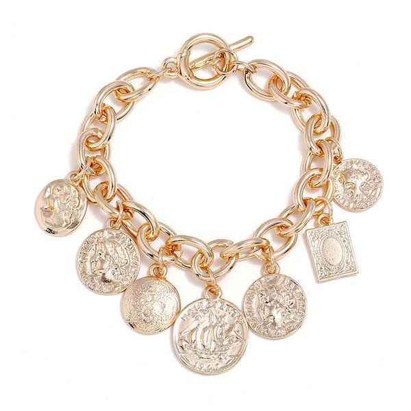 Wholesale fashion jewelry copper coin head coin alloy plating bracelet bracelet accessories for women NHZU181253