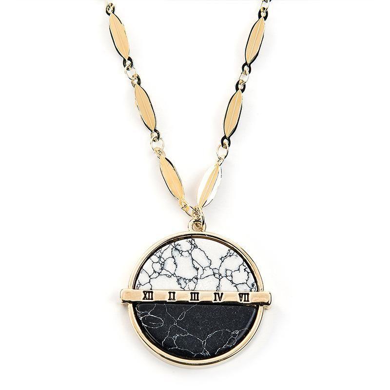 Couple jewelry round turquoise sweater chain long pendant necklace women wholesale fashion jewelry NHLL181529