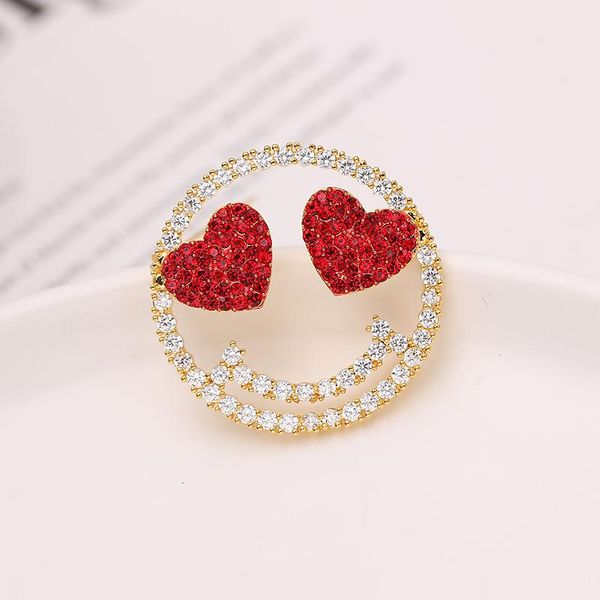 Korea high-end diamond love smile brooch pin clothing zircon stars fashion brooch wholesale NHDO181389