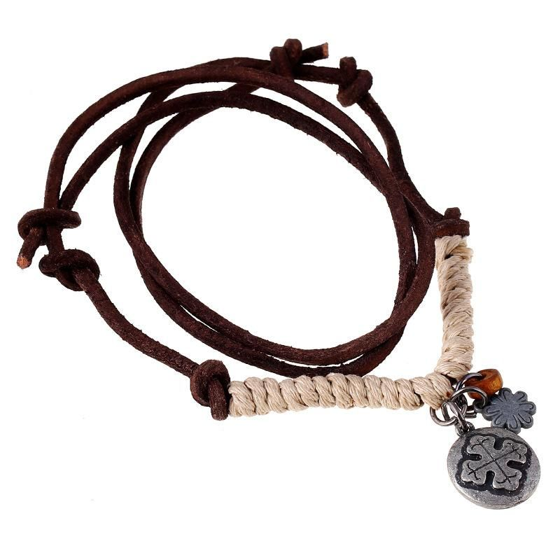 Wholesale fashion jewelry vintage cowhide necklace men's leather necklace wholesale NHPK181330