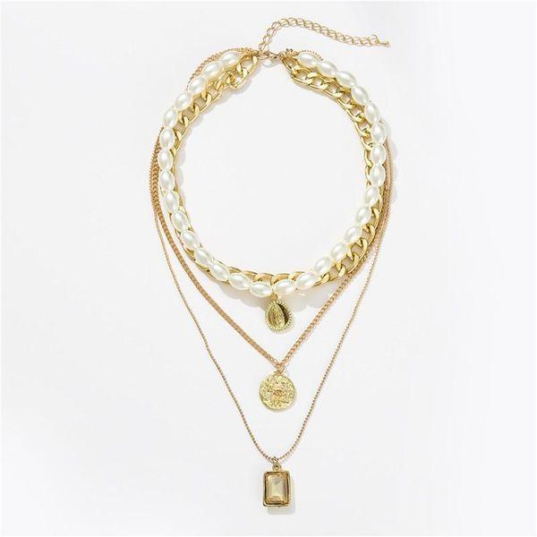 Wholesale fashion jewelry retro pearl coin crystal pendant multi-layer necklace clavicle chain wholesale women NHZU181248