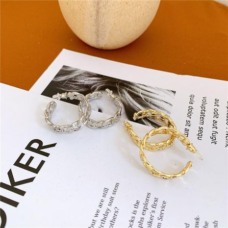 Cutout chain link chain C-shaped circle earrings wholesale fashion jewelry NHYQ181355's discount tags