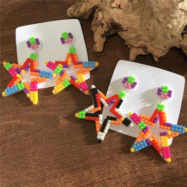 DIY building blocks contrast color mosaic five-pointed star exaggerated earrings wholesale fashion jewelry NHYQ181375
